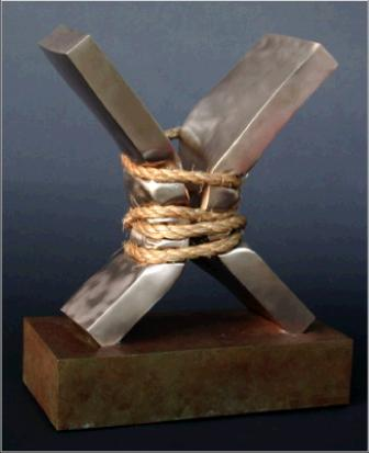 Contradiction 7  rotblatt bronze sculpture