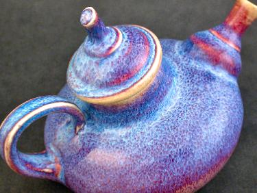 Detail of Ceramic Porcelain Teapot with blue and red glaze by Rotblatt