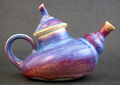 Ceramic Porcelain Teapot with blue and red glaze by Rotblatt